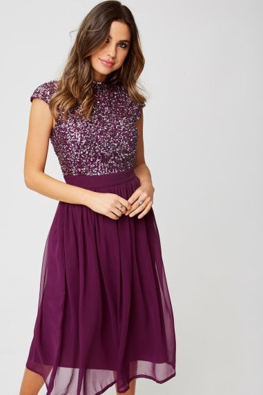Luxury Michelle Plum Hand-Embellished Sequin Top Midi Dress