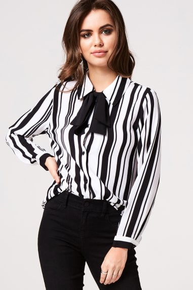 Stripe Pussy Bow Blouse