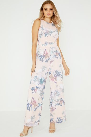 Arly Floral Jumpsuit With Lace Back