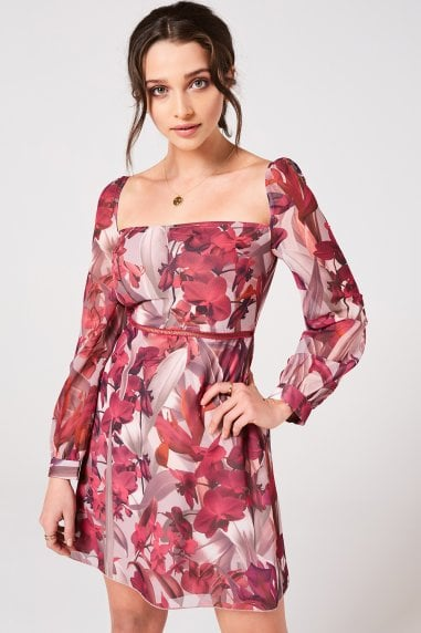 Marlowe Floral Square-Neck Mini Shift Dress