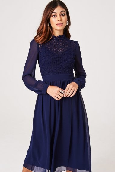 Sacha Navy Crochet Lace Long-Sleeve Midi Dress