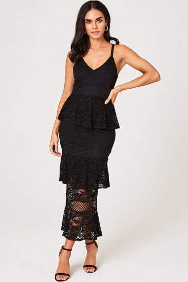 Elly Black Tiered-Lace Ruffle Midi Dress