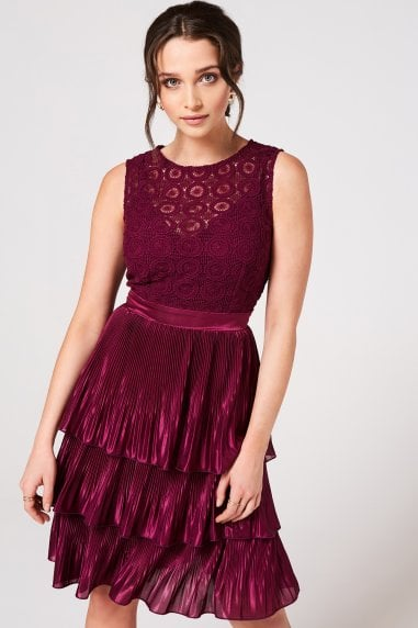 Nikki Mulberry Crochet Lace Layered Dress