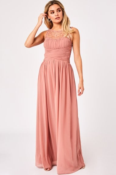 Grace Peach Embellished Neck Maxi Dress