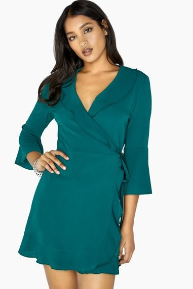 Green Mini Wrap Dress