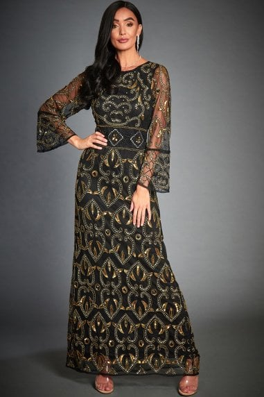Rose Black & Gold Embellished Evening Maxi Dress