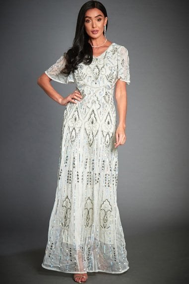 Isabella Off-White Embellished Evening Maxi Dress