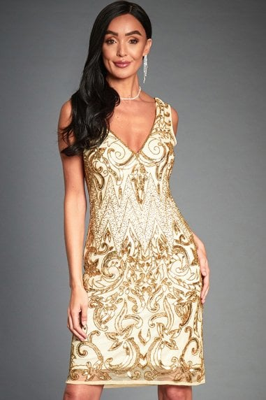 Angie Gold Embellished Mini Flapper Dress