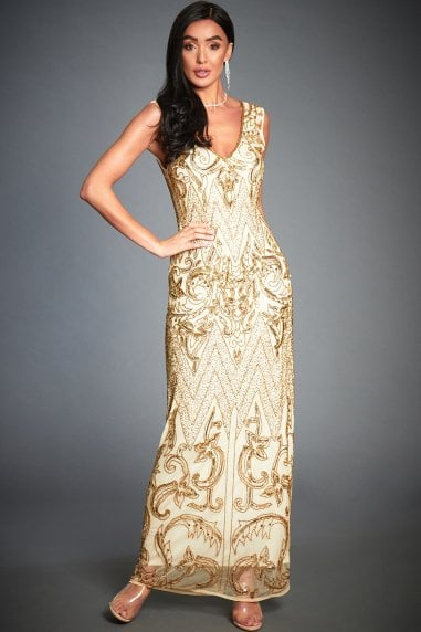 Angie Gold Embellished Evening Cocktail Dress