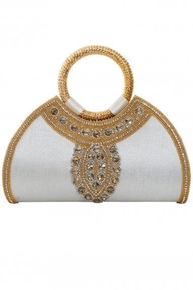 Amira Off-White Embellished Evening Purse