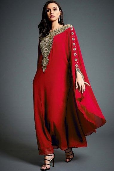 Layla Red Embellished Kaftan Maxi Dress