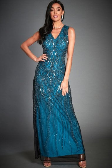 Anna Blue Embellished Evening Maxi Dress