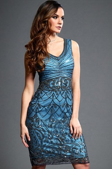 Victoria Blue Embellished Mini Flapper Dress