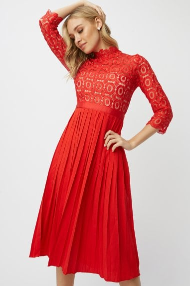 Alice Red 3/4 Sleeve Crochet Top Midi Dress With Pleated Skirt