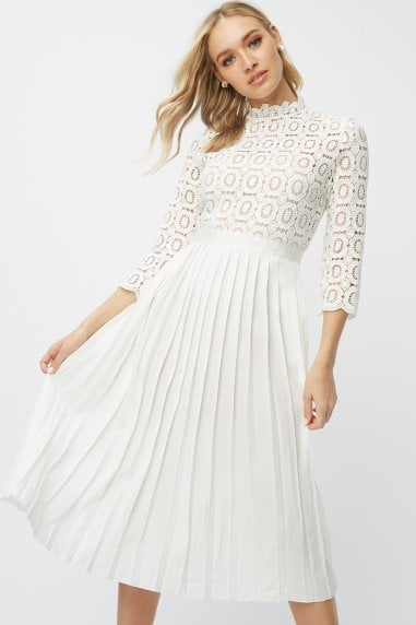Alice White 3/4 Sleeve Crochet Top Midi Dress With Pleated Skirt