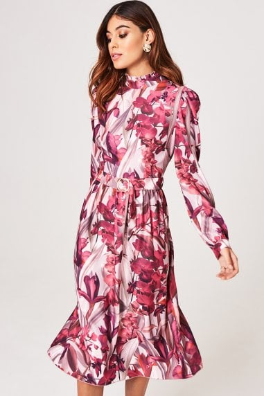 Marlowe Floral Long-Sleeve Belted Midi Dress