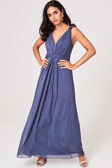 Anaïs Lavender Grey Ring Detail Maxi Dress