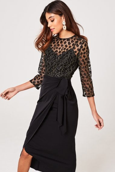 Vivian Black Animal-Lace Midaxi Dress