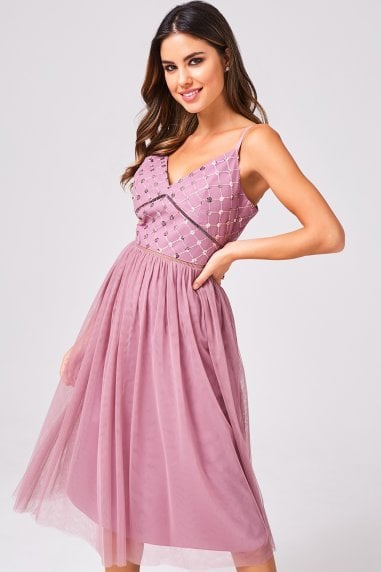 Phoebe Canyon Rose Sequin Top Midi Dress