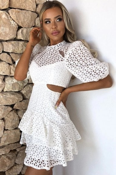 Daisy White Lace Cut-Out Mini Dress