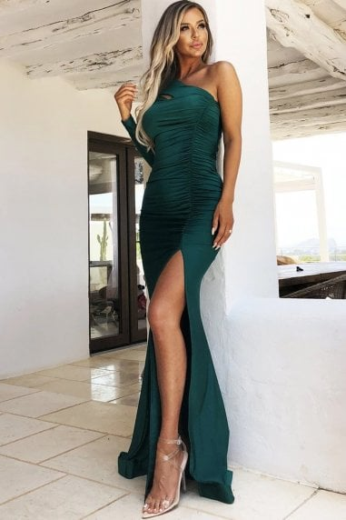 Gabriella Emerald Green One Shoulder Gown