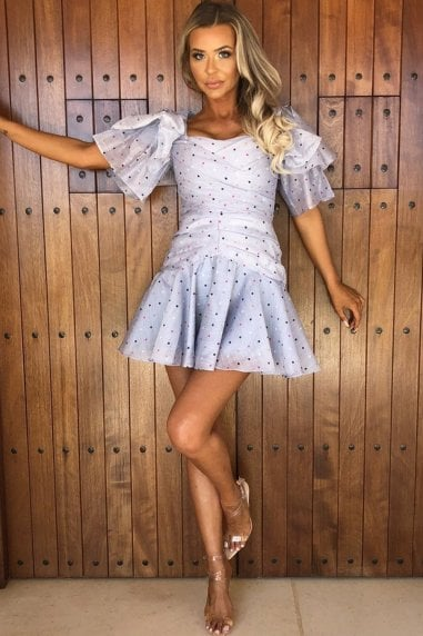 Nori Light Blue Polka Dot Ruffle Sleeve Mini Dress