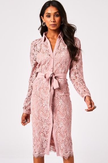Grosvenor Dusty Blush Lace Midi Shirt Dress
