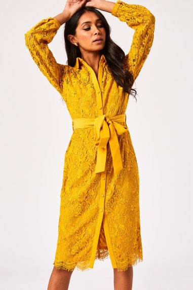 Grosvenor Mustard Lace Midi Shirt Dress