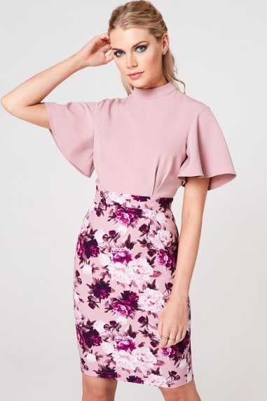 Kasai Dusty Blush Floral-Print Flutter Sleeve Dress