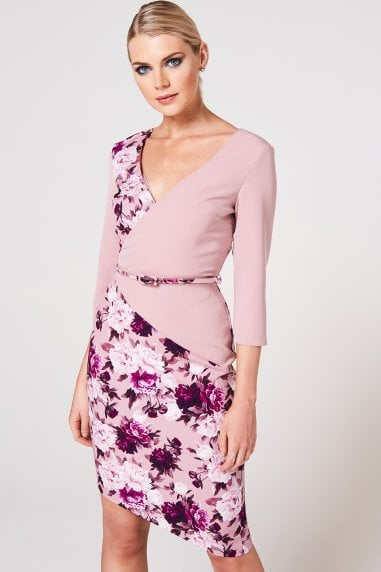 Akita Dusty Blush Floral-Print Belted Dress