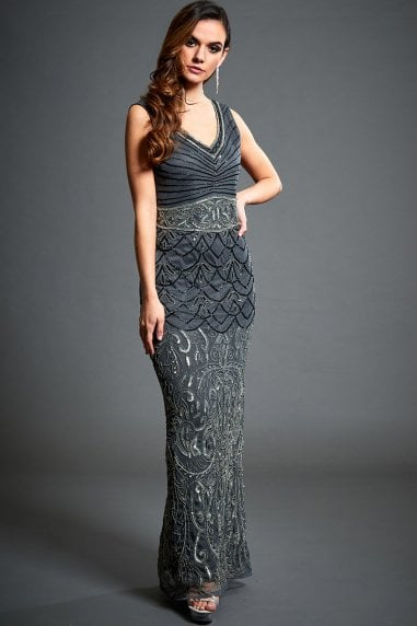 Eva Grey Embellished Evening Maxi Dress
