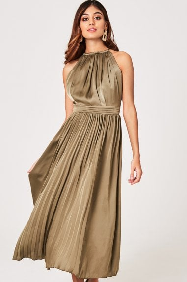 Laurie Khaki Satin Halter Pleated Midaxi Dress