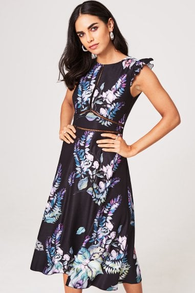 Roxby Black Floral Midi Dress