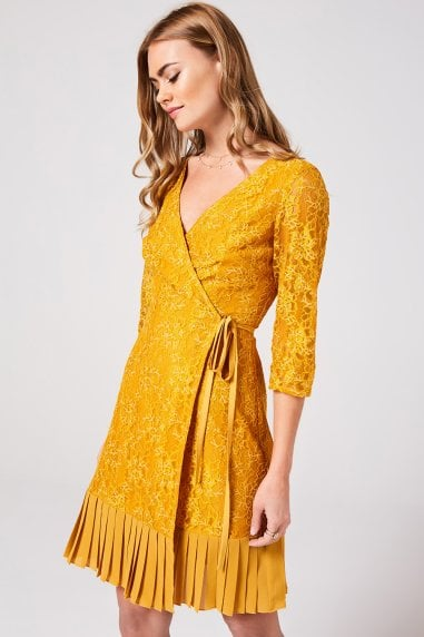 Penelope Spice Gold Lace Wrap Dress