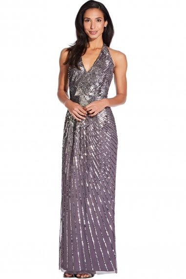 Moonscape Beaded Halter Maxi Dress