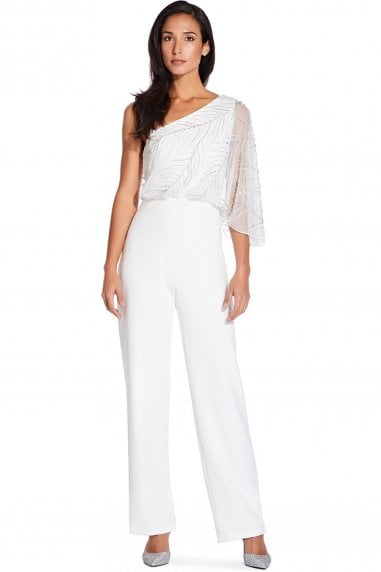 Ivory Beaded Crepe Jumpsuit