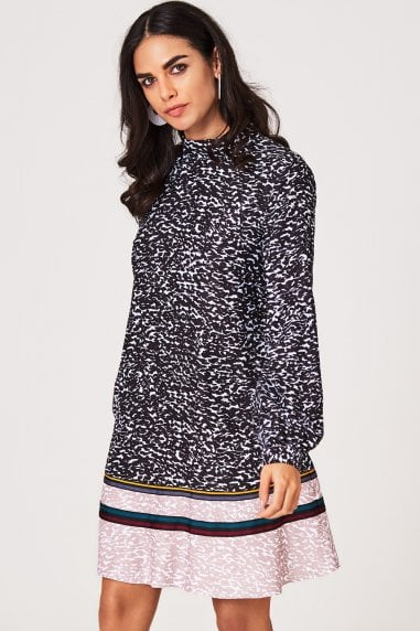 Sylvia Animal-Print and Grosgrain Shift Dress