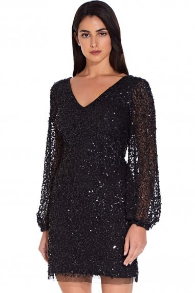 Black Beaded Mini Cocktail Dress