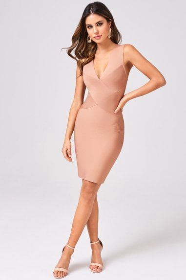 Elena Nude Bandage Bodycon Dress