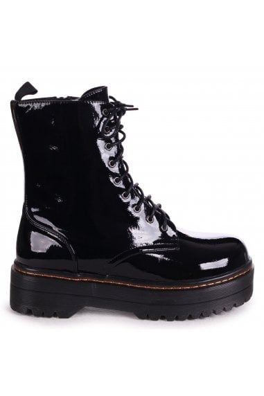 MAE - Black Patent Military Style Lace Up Boot With Chunky Rubber Sole