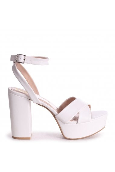 LEONORA - White Nappa Platform With Crossover Front Strap