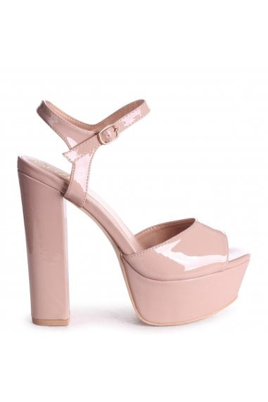 SINDY - Nude Patent Extreme Platform Barely There Heel