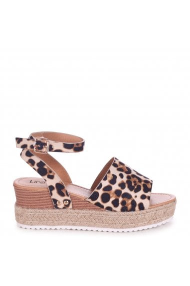 TIMELESS - Leopard Suede Two Part Espadrille Inspired Platform Wedge