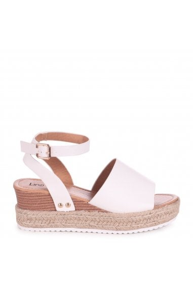 TIMELESS - White Nappa Two Part Espadrille Inspired Platform Wedge