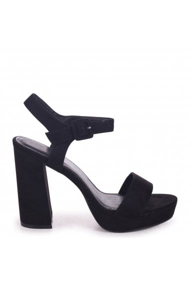 ARETHA - Black Suede Platform Barely There Heel