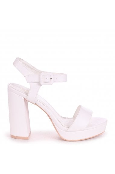 ARETHA - White Nappa Platform Barely There Heel