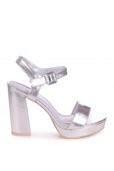 ARETHA - Silver Metallic Platform Barely There Heel