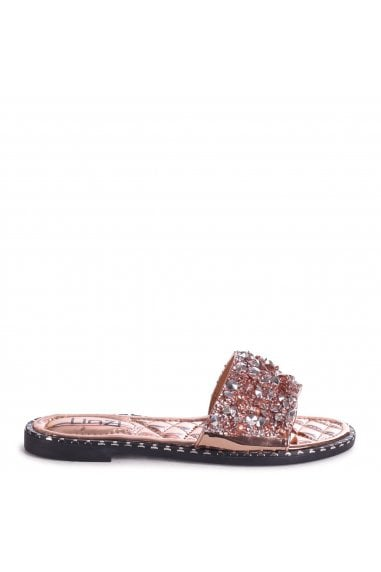 SKYE - Rose Gold Heavily Embellishes Diamante Slip On Slider