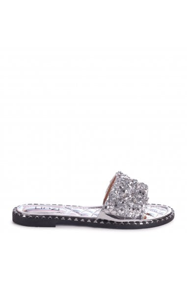 SKYE - Silver Heavily Embellishes Diamante Slip On Slider