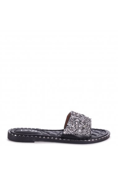 SKYE - Black Heavily Embellishes Diamante Slip On Slider